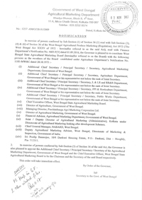 Photocopy of Notification No 1257 - AM / O / 2B - 01 / 2009 Dated Kolkata the 30-10-2017